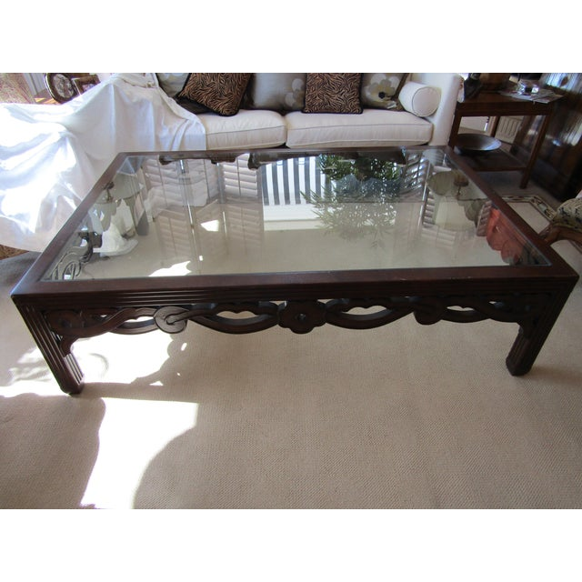 Image of Transitional Glass Top Wood Cocktail Table