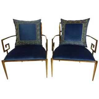 Hollywood Regency Style Greek Key Armchairs - A Pair