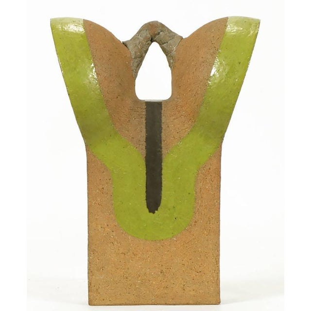 Tomiya Matsuda Chartreuse Glaze and Terra Cotta Abstract Sculpture - Image 2 of 6