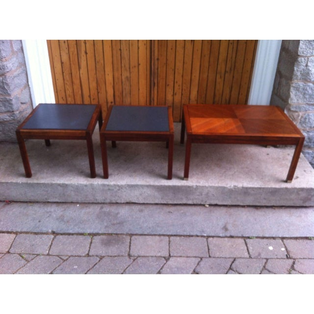 Mid-Century Slate and Walnut End Tables - Set of 3 - Image 2 of 8