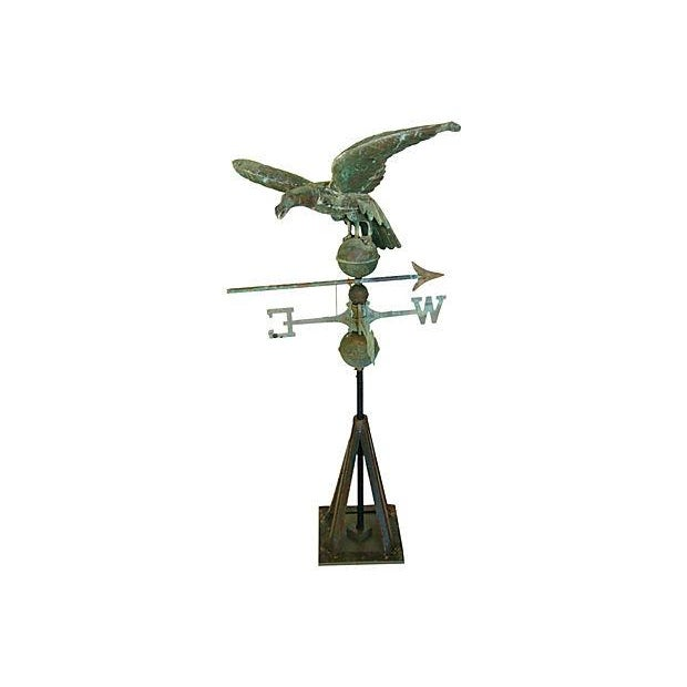 Image of Vintage Copper Eagle Weathervane with Stand