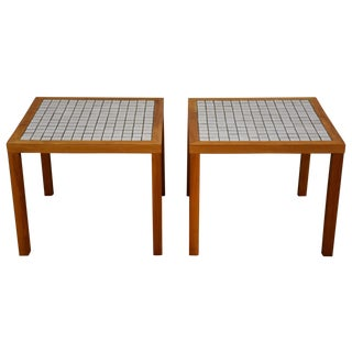 Martz Walnut And Tile End Tables - Pair