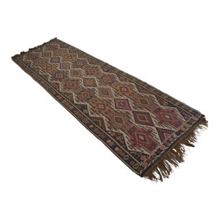 Turkish Hand Woven Kilim Runner - 4′3″ × 13′5″