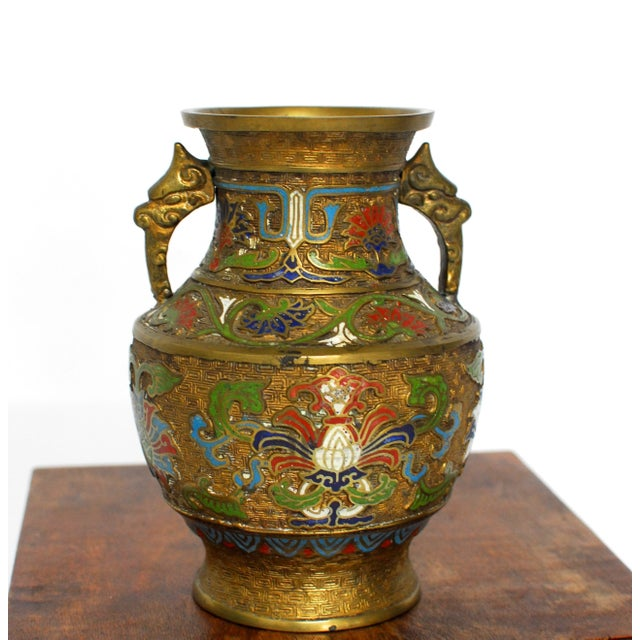 Asian Champleve Brass Floral Vase - Image 2 of 5