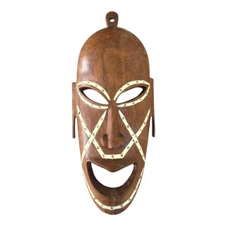 Vintage Tribal Carved & Inlaid Shell Mask