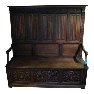 Antique English Ornate Hall Mud Room Fireside Bench With Storage