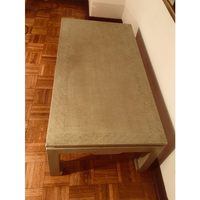 Baker Greige Grasscloth Wrapped Coffee Table With Chow Feet - Image 4 of 7
