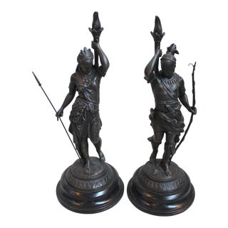 19th C. Spelter Figures of American Indians - Pair