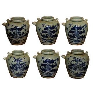 Vintage Sarreid LTD Blue & White Wine Jars - Set of 6