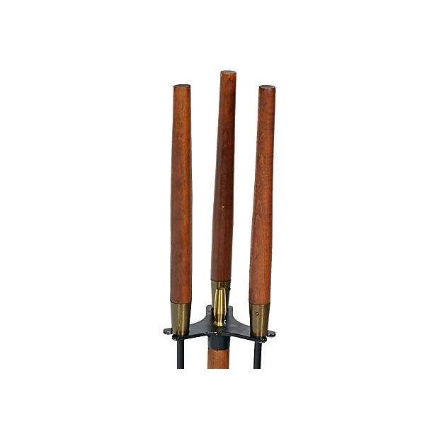 Vintage 1960s Walnut-Handled Black Fire Tool Set - Image 2 of 4