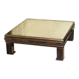 Guy Lefevre Antiqued Mirrored Coffee Table