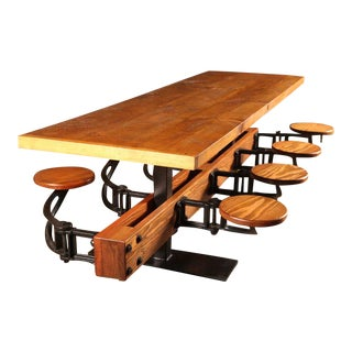Vintage Industrial Cast Iron, Steel & Wood Swing Out Seat Dining Table