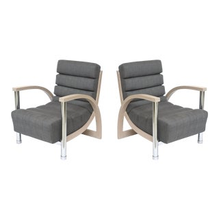 Pair of American Modern Cerused Oak and Chrome Eclipse Chairs, Jay Spectre