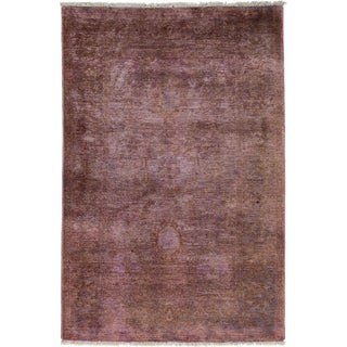 "Vibrance, Hand Knotted Contemporary Purple Wool Area Rug - 3' 10"" X 5' 10"""