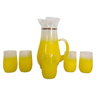Lemon Yellow Frosted Pitcher & 5 Glasses