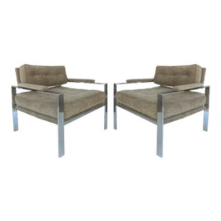 Harvey Probber Style Chrome Club Chairs - a Pair