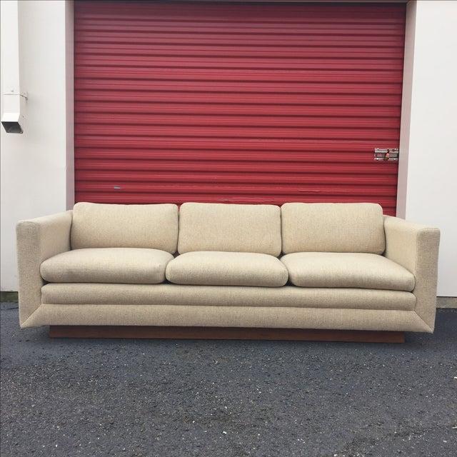 Mid Century Cream Sofa on Wood by Gunlocke Company - Image 2 of 10