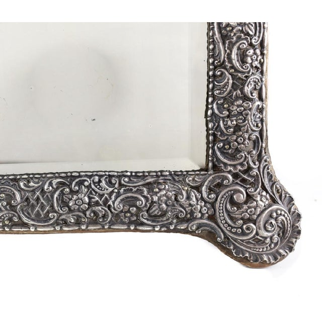 Circa 1903 Fine English Victorian Sterling Silver Leather & Wood Mounted Table Mirror - Image 5 of 7