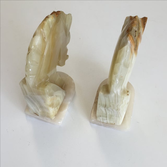 Image of Marble Horse Bookends - A Pair