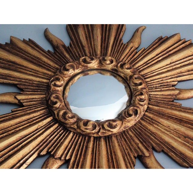French Carved Gilt Wood Convex Sunburst Mirror - Image 5 of 7