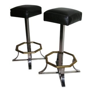 Maison Jansen Swivel Bar Stools - a Pair