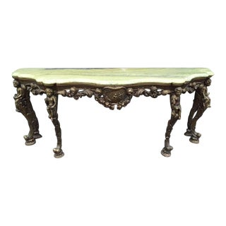 19th Century Italian Carved Wood Marble-Top Console w/ Puttis