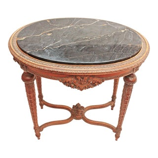 Oval Deco Carved Fruitwood Occasional Table