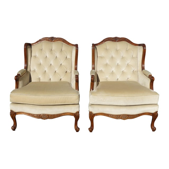 Pair of Bernhardt Tufted Wing Back Velvet Chairs - Image 1 of 11