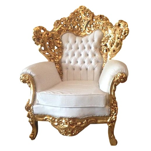 Gold and White Rococo Armchair - Image 1 of 6