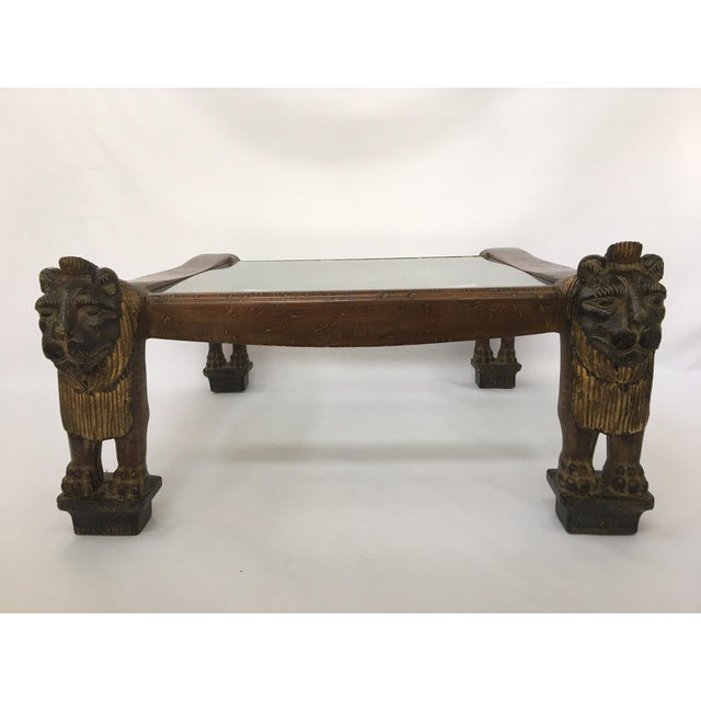 egyptian revival sculptural carved lion coffee table chairish. Black Bedroom Furniture Sets. Home Design Ideas