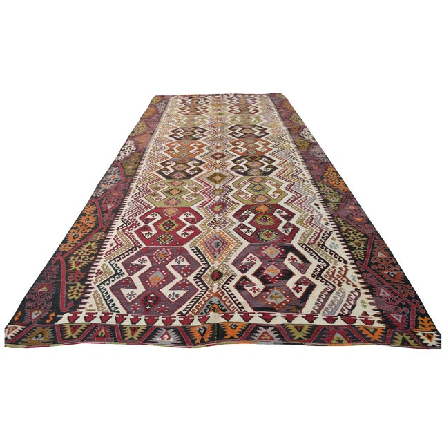 "Hand-Woven Turkish Kilim Rug - 7'2"" x 16'3"" - Image 1 of 11"