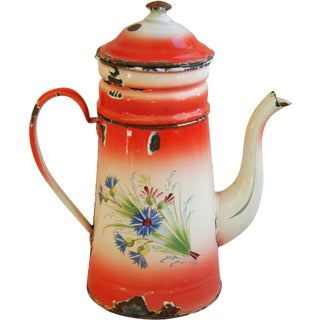 1900s Antique French Hand-Painted Coffee Pot