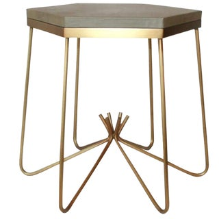 Customizable Richer Leather Top Side Table
