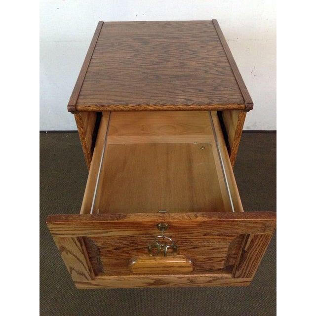Vintage Carved Oak 3 Drawer Filing Cabinet - Image 4 of 4