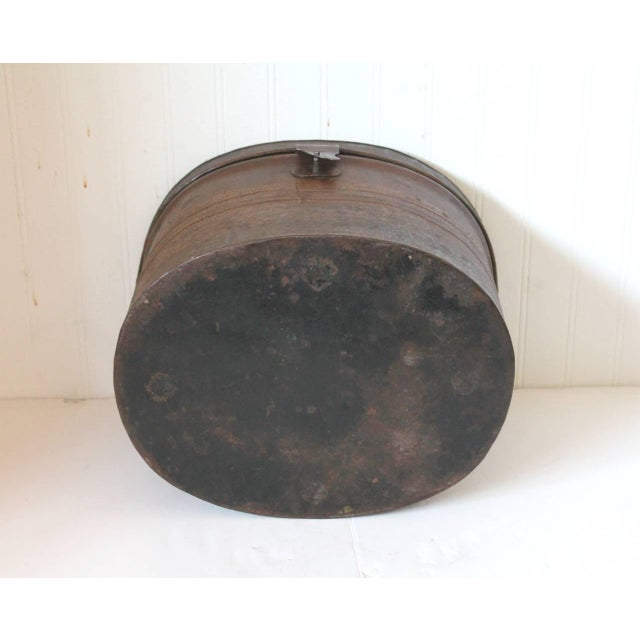 19th Century Original Brown Painted and Distressed Hat Box - Image 8 of 8
