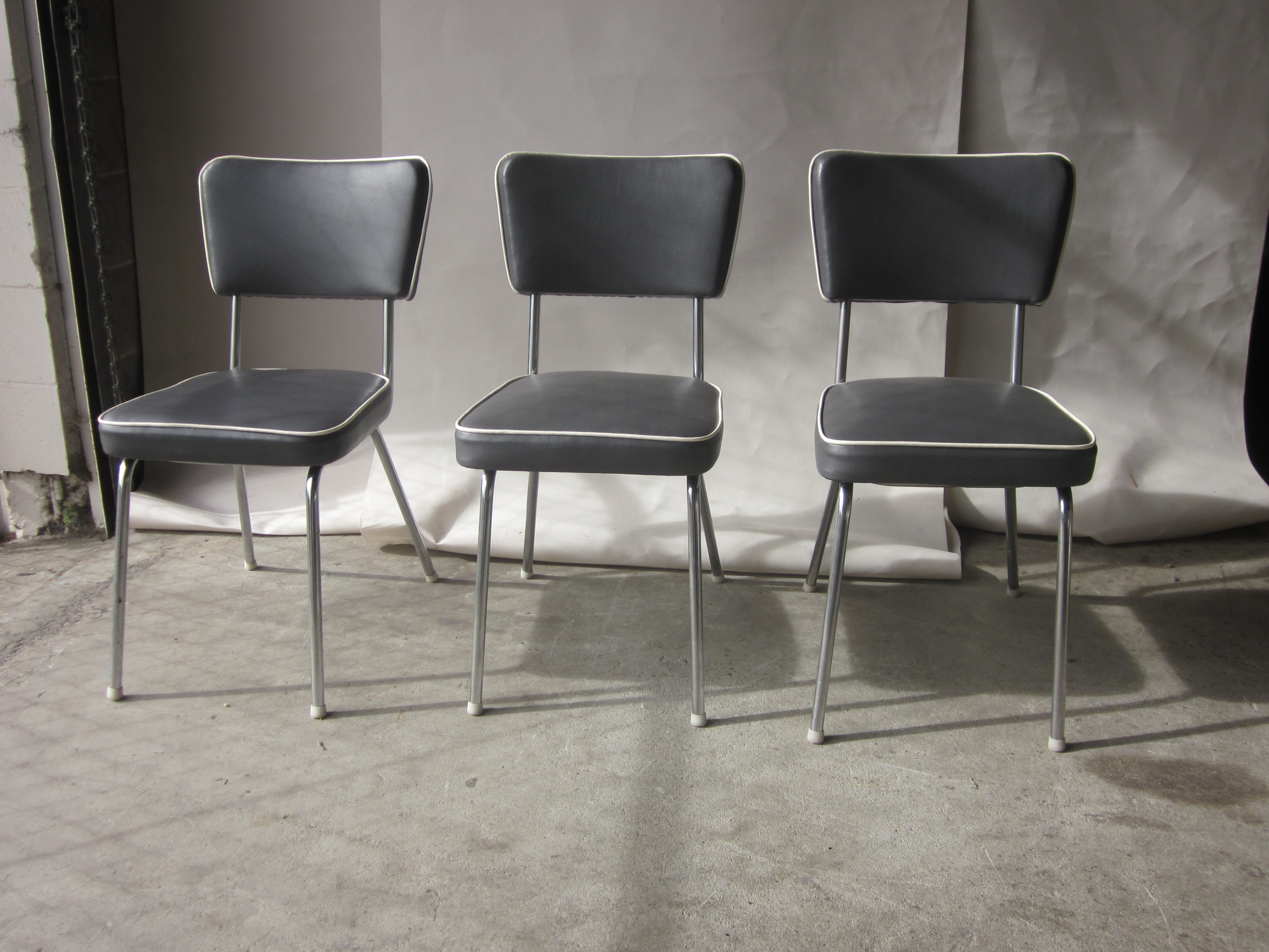 Vintage Gray Faux Leather Dining Chairs Set of 3