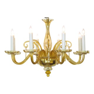 Richly-Colored Murano, 1960s Butterscotch Glass Six-Light Chandelier