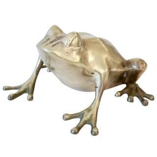 Oversize Brass Frog Paperweight