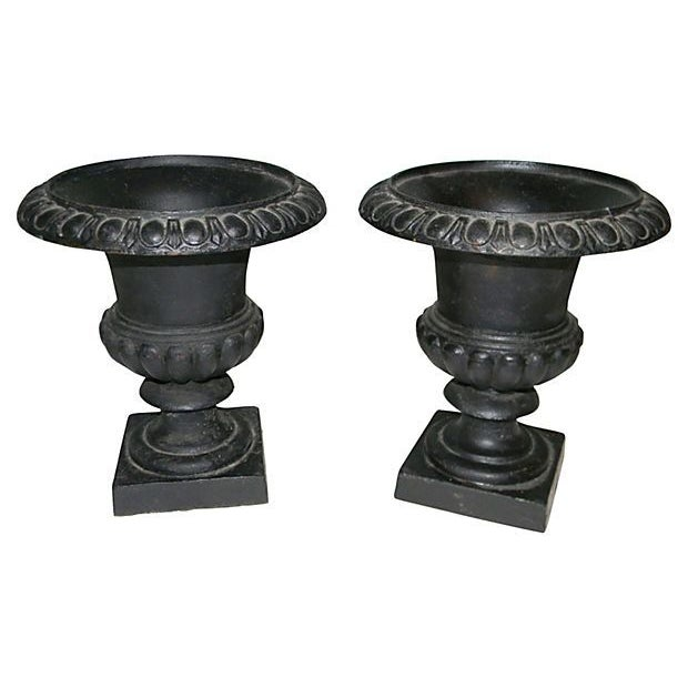 Image of 19th Century Cast Iron Campania Urns - A Pair