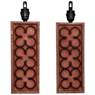 Painted Wood & Triple Iron Quatrefoil Sconces - A Pair