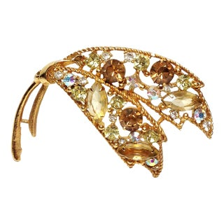 Emmons Yellow & Brown Rhinestone Brooch