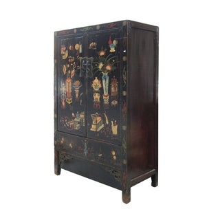 Vintage Chinese Black Lacquer Graphic Armoire