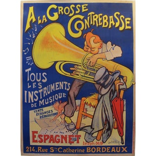 1920s French Belle Epoque Music Poster, A la Contrebasse