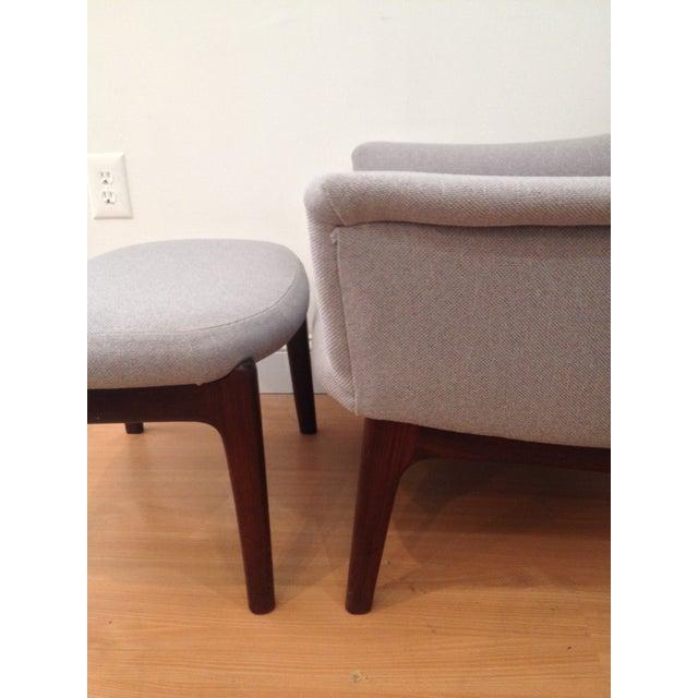 Danish Modern Upholstered Lounge Chair & Ottoman - Image 5 of 11