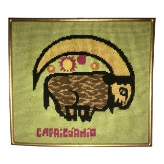 Vintage Capricorn Zodiac Framed Needlepoint Textile Art