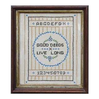 """Good Deeds Live Long"" Cross Stitch Sampler"