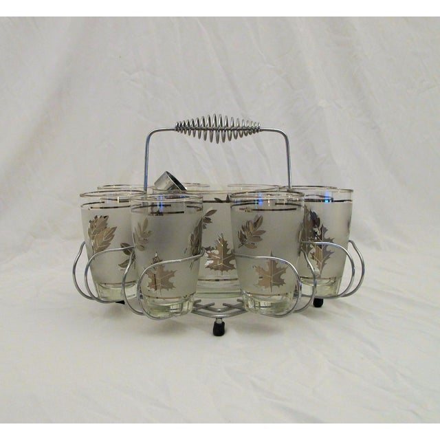 Image of 1960's Glasses Ice Bucket And Carrier Set