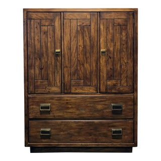 DREXEL HERITAGE Woodbriar Pecan Campaign Style Chest / Armoire