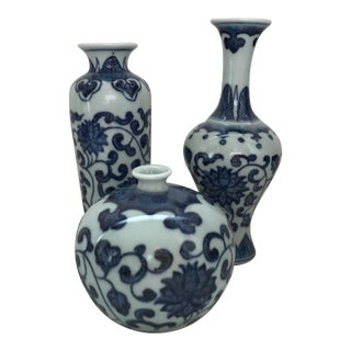 Chinoiserie Blue & White Porcelain Vases - Set of 3
