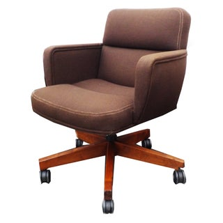 Brown Wool Tweed Padded Office Swivel Chair